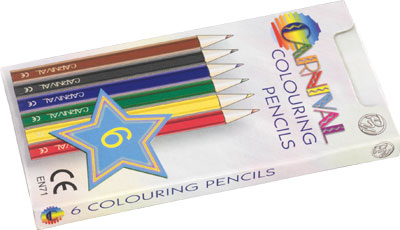 Carnival Colouring Pencils Half Size 6-Pack